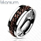 Titanium Men's Coffee Toned Cuban Chain Band Ring Size 9-14