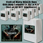 "Black Ops Military Video Game Gift Bag Label 3.75"" x 4.5"" DIY Stickers 12 pcs"