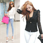 Spring Women Retro Floral Lace Button Office Jacket Blazer Coat Cardigan Black