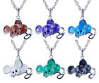 Sale  Fashion Jewelry Lady's Gift  Mouse Crystal Pendant Necklace Long Chain Hot
