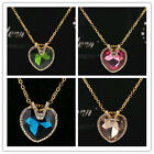 Free shipping 14k Gold Filled Austrian Crystal Aquamarine Heart Pendant Necklace