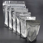 100 x Ziplock Grip Seal Bags Stand Up Pouch Clear Front Aluminium Foil Back Inne