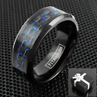 Black Titanium Men's Blue Carbon Fiber Inlaid Center Band Ring Sizes 9-13