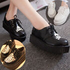 Women Creepers Lace Up Skull Wedge Flat Goth Punk Leopard Platform Casual Shoes