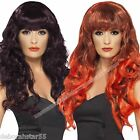 Long Red Wig Long Plum Wig Red & Black Devil Wig Gothic Witch WIG Siren Wig