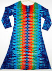 TIE DYE Women's Rainbow DNA Long Sleeve Dress hippie boho gypsy sm med lg xl