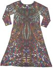 Women's TIE DYE Long Sleeve Dress Phoenix Blotter art hippie boho sm med lg xl