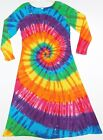TIE DYE Women's Rainbow PinWheel Spiral Long Sleeve Dress hippie sm med lg xl