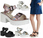 Ladies Womens Velcro Gladiator Chunky Sole Cleated Platform Sandals Shoes Size