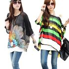 Women Casual Tops  Oversize Bat Sleeve Bohemian Chiffon Blouse T Shirt L-XL