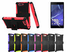 Hard Rugged Grip Armor Case Cover Screen Film For Sony Xperia Z3 Compact Mini