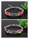 Hot Cool Tibetan Silver Fashional Red Beads 3 lines Cuff Newest Bracelet fashion