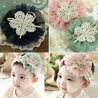Newborn Baby Toddler Girls Flowers Lace Headbands Soft Elastic Hair Bow Hairband
