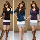 1PC Womens Casual Long Sleeve Bodycon Stripe Cocktail Party Mini Dress Perfect