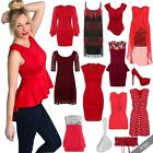 Womens Valentines Sexy Red Lace Chiffon Bodycon Dress Top Blouse Evening Shoes