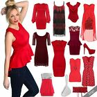 Women Sexy Red Lace Chiffon Bodycon Dress Top Blouse Evening Shoes Prom Carnival
