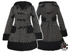Hell Bunny Mika Polka Dot Emo Goth Rockabilly Vintage Style Padded Winter Coat
