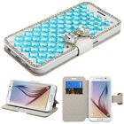 For Samsung Galaxy S6 Square Bling Wallet with Butterfly Case Pouch Phone Cover