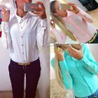 Women Fashion OL T Shirt Long Sleeve Lapel Collar Button Blouse Zipper Tops