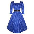 Hearts & Roses London Sleeve Blue Dot Vintage 50s Flared Party Dress