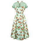 Green Tropical Floral 50s Vintage Pinup Party Tea Dress