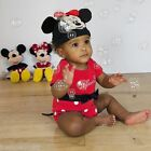 Baby Girls Toddler Disney Minnie Mouse Costume Outfit Character Bodysuit and Hat