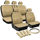 17PC Solid Beige / Tan PU Synthetic Leather Seat Cover Set for SUVS