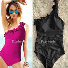 Rose Black One Piece Ruffle One Shoulder Monokini Padded Swimwear Bathing Suit