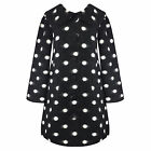 Hell Bunny Colette Nero Bianco A Pois Vintage 60s Crombie Swing Cappotto