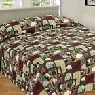 CABIN PATCHWORK QUILTED BEDSPREAD MOOSE BEAR TREE KING QUEEN MOTHERS DAY GIFT