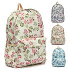 Floral Backpack Canvas Flower Girls Satchel Shoulder School Bag Rucksack Retro