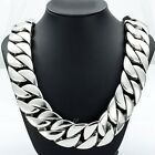 31MM Mens Chain Silver Curb Link 316L Stainless Steel Necklace 16-36'' (HEAVY)