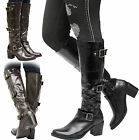 Ladies Women Knee High Mid Block Heel Buckles Long Riding Biker Boots Shoes Size
