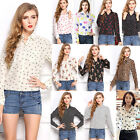Women Casual Long Sleeve Career Work Print Chiffon Button-down Shirt Tops Blouse