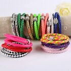 Cool Leather Wrap Double Wristband Cuff Punk Magnetic Rhinestone Buckle Bangle