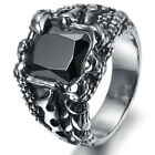 Mens Stainless Steel Ring, Biker, Silver, Black Crystal, Claw KR1930
