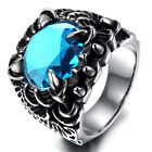 Mens Stainless Steel Ring, Biker, Silver, Blue Crystal, Round KR1921