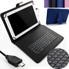 """Micro USB Keyboard Folio Leather Case for 7"""" 8"""" 10"""" 10.1"""" Andriod Tablet +Stylus"""