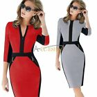 Womens Colorblock Zip V Neck Wear To Work Business Party Tunic Slim Pencil Dress