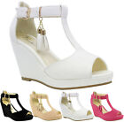 Ladies Mid High Wedge Heel Summer Tassel Ankle Strappy Sandals Womens Shoes Size