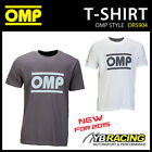 NEW! OR5904 OMP RACING SPIRIT T-SHIRT COTTON FABRIC in GREY or WHITE ALL SIZES