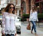 Fashion Women Sheer Sleeve Embroidery Flower Lace Crochet Chiffon Shirt Blouse