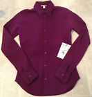 AUTHENTIC TRUE RELIGION Shirt CASUAL WOVEN Long Sleeve Women's Purple NEW