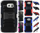 Samsung Galaxy S6 Combo Holster HYBRID KICK STAND Hard Rubber Case +Screen Guard