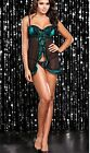 Green Babydoll Padded UnderWire Black Lingerie Plus Size 8 10 12 14 16 18  K199
