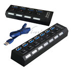 4/7 Ports USB 3.0 HUB Speed 5Gbps On/Off Switch Power Adapter For PC Laptop PC