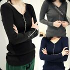 New Women's Fashion V Neck Long Sleeve casual tops & Sweater T shirt 9Z1