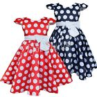 NEW Kid Girl Spring Summer Holiday Dot Dress Formal Red Navy Blue Size 2-7 Years