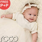 Baby Girls Ivory Dress Christening Toddlers Butterfly Dress Age 0 - 9 Months