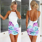 Sexy Women Slim Summer Floral Print Gallus Sleeveless Backless Dress Reliable